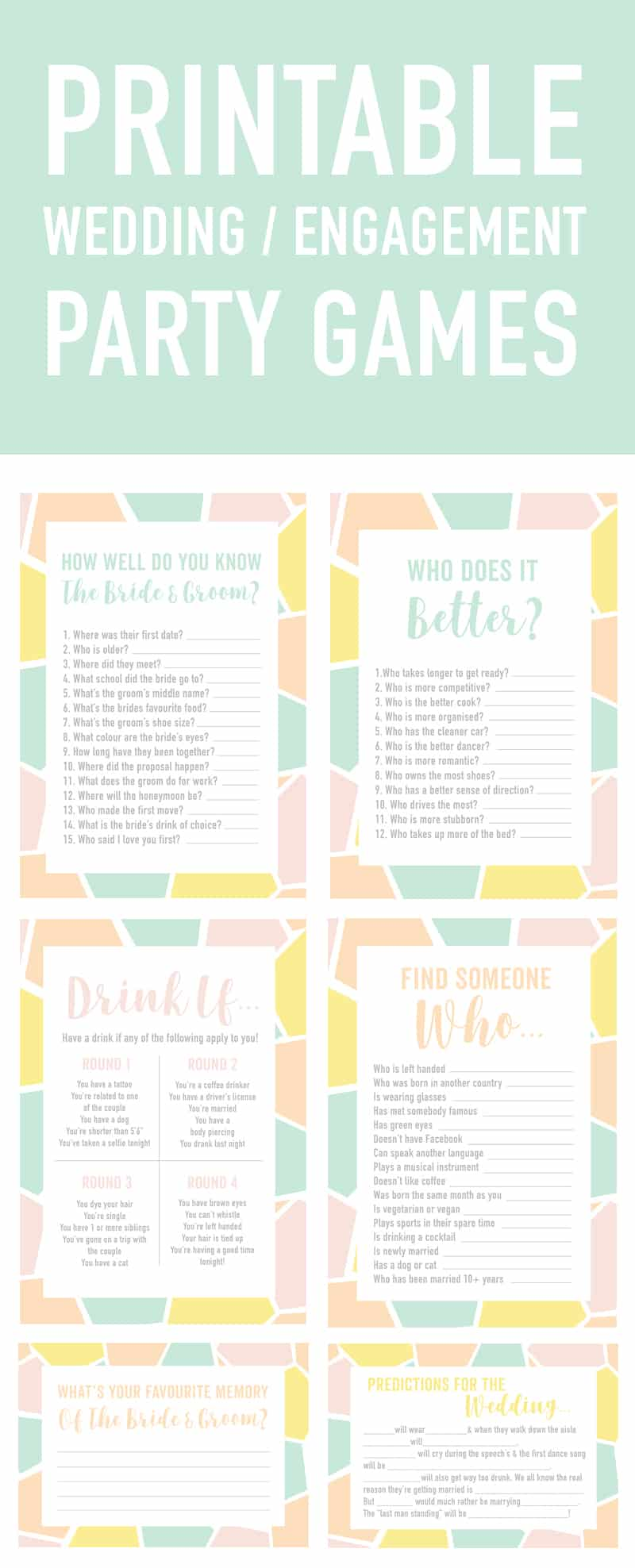 Free Printable Engagement Party Or Wedding Ice Breaker Game Find The