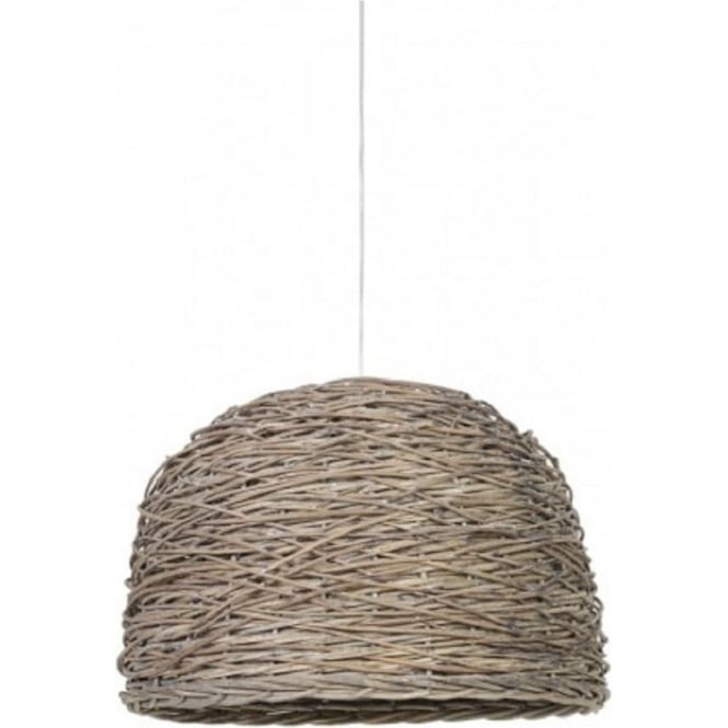 Wooden Ceiling Pendant Light with Dome Shaped Grey Basket