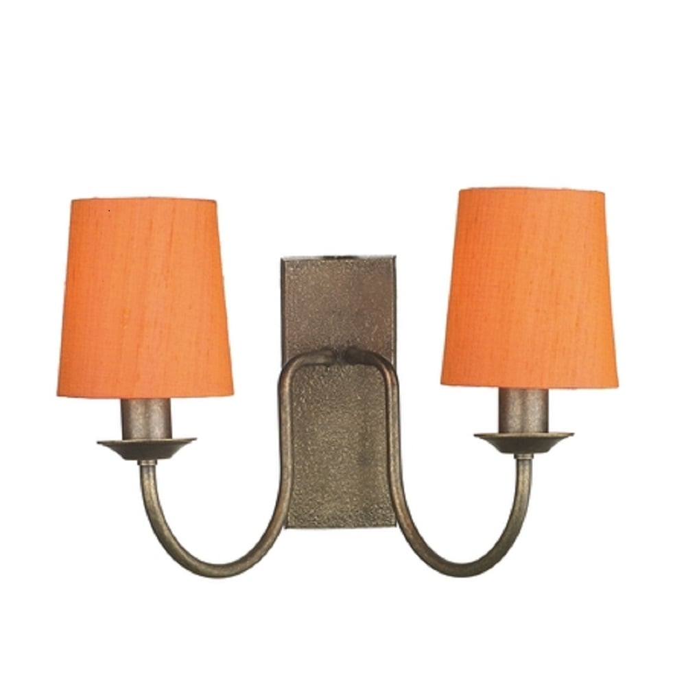 Traditional Bronze Double Wall Light with Orange Clip