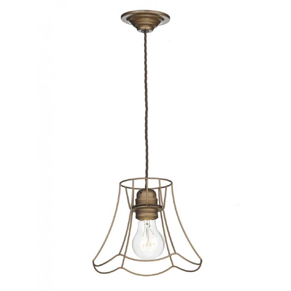 Bronze Lamp Shade Cage Ceiling Pendant Light on Brown Cord