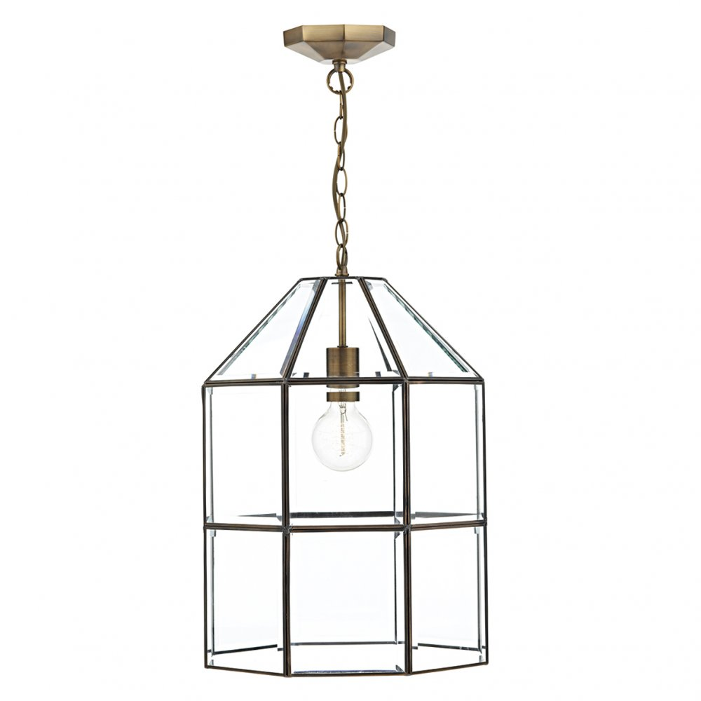 Glass Hall Lantern with Antique Brass Cage Frame and