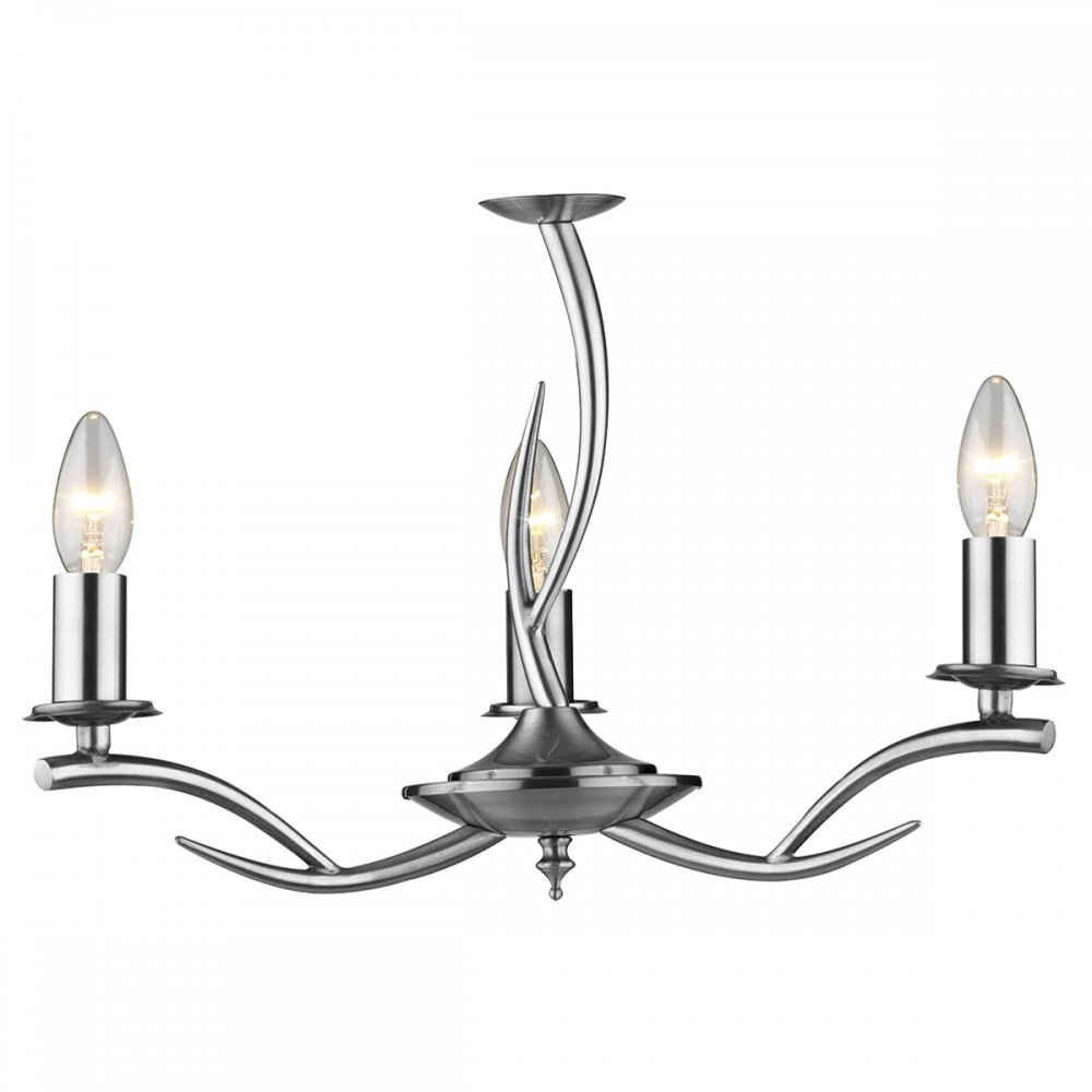 Dual Mount Antler Ceiling Light in Satin Chrome with