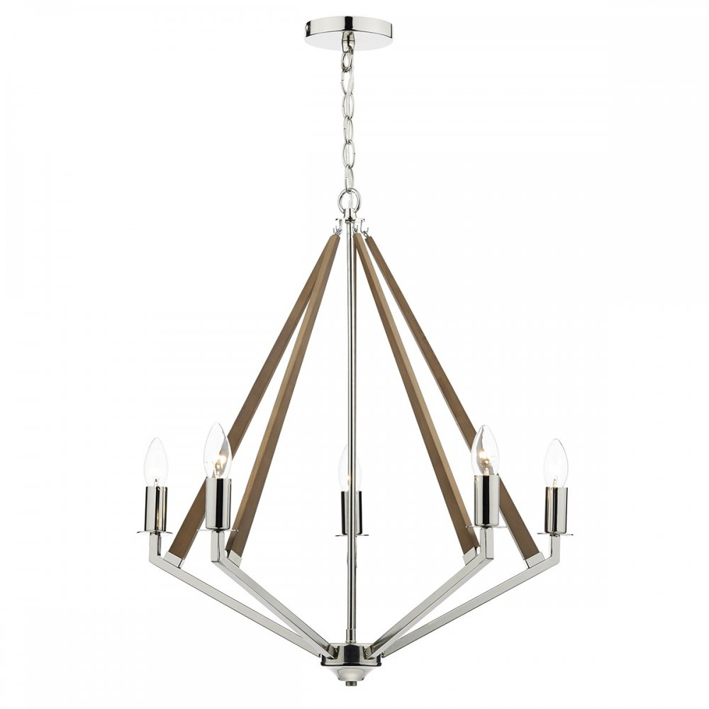 Contemporary Open Frame Ceiling Light in Wood and Nickel