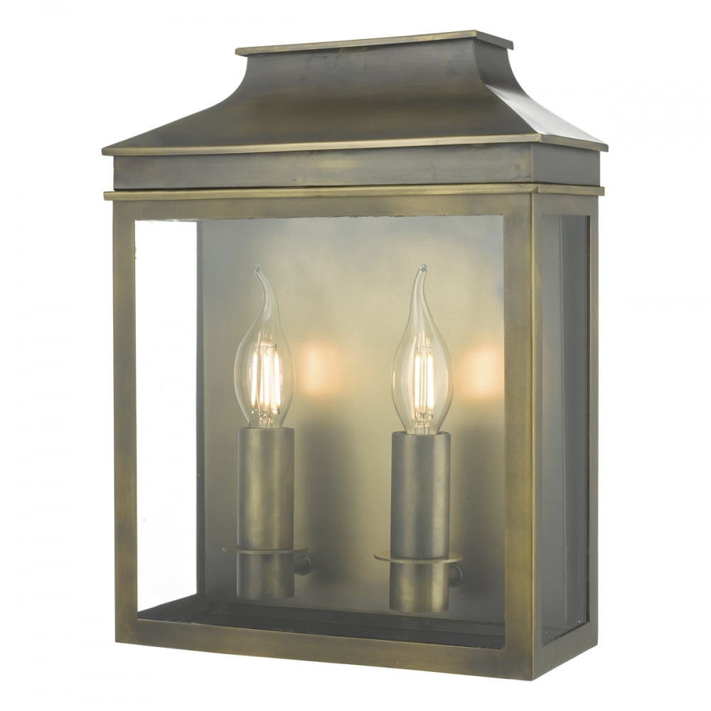 Weathered Brass Outdoor Garden Wall Coach Lantern With Two Bulbs