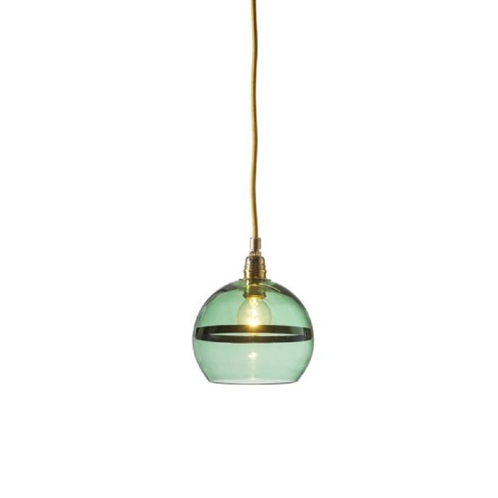 Mouthblown Green Glass Globe Pendant with Metallic Green