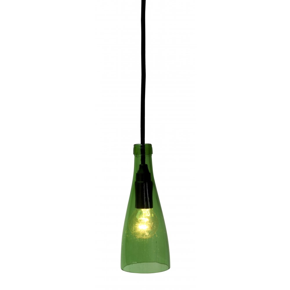 Green Glass Pendant light 'USED BOTTLE' up cycled