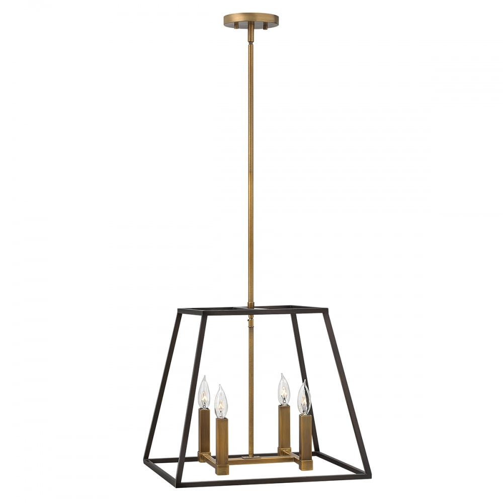 fulton ceiling pendant with open bronze cage shade and 4 candle lights