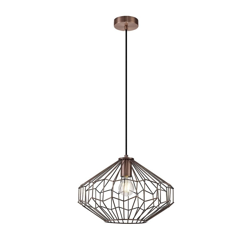 Geometric Antique Copper Wire Ceiling Pendant Hanging on