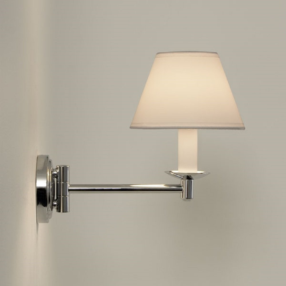 Traditional Swing Arm Bathroom Wall Light White PVC Candle Shade