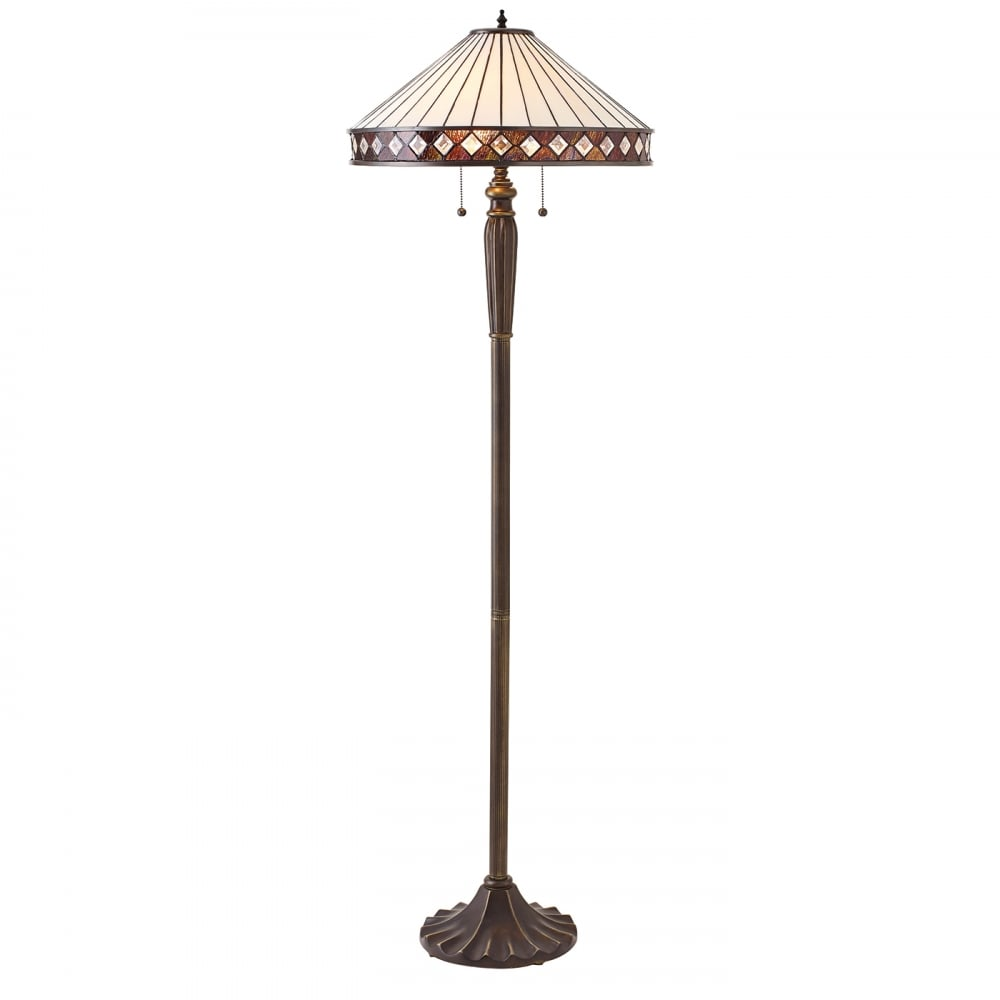 Art Deco Standard Floor Lamp, Iridescent White Tiffany
