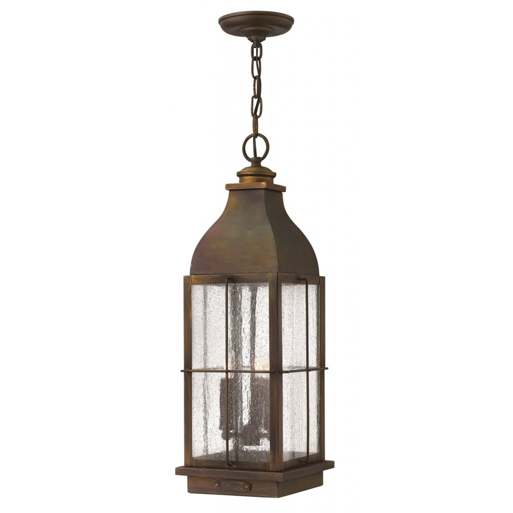 Rustic Cast Brass Hanging Porch Lantern in Traditional