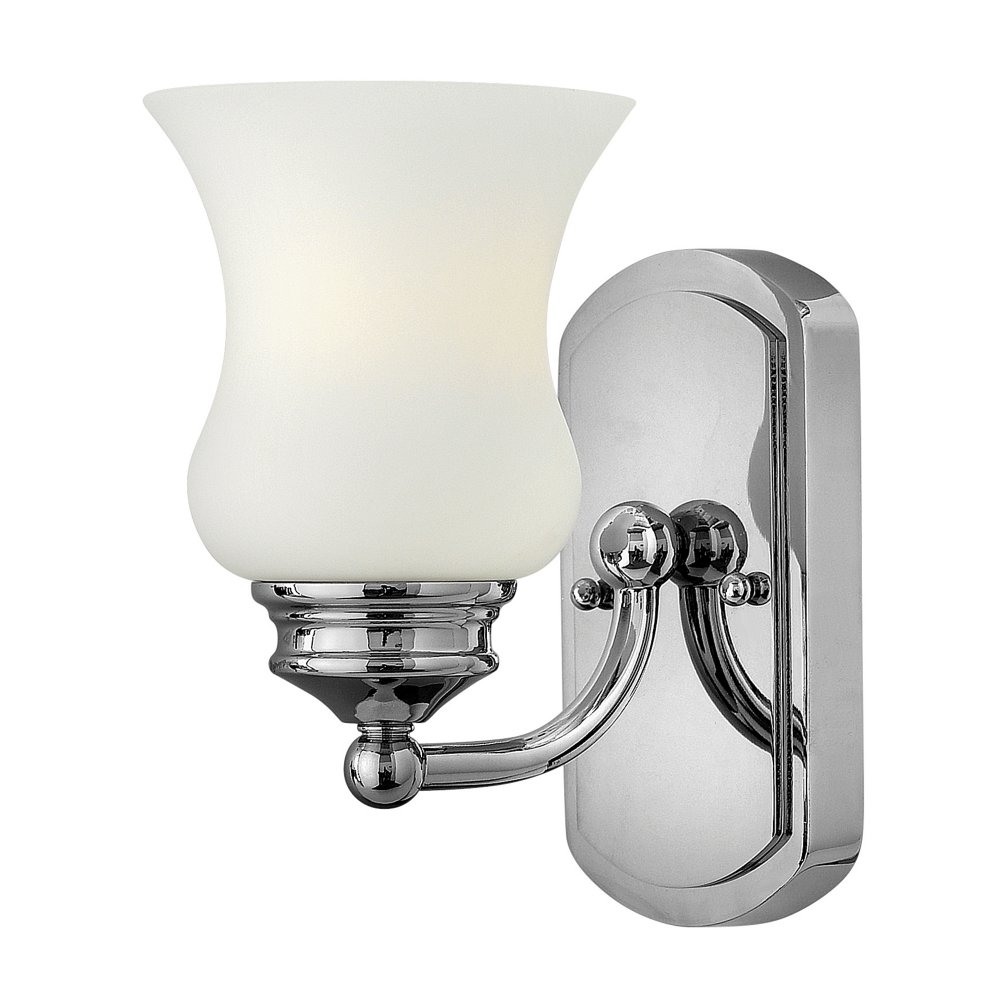 Traditional IP44 Chrome Bathroom Wall Light with Bell Glass Shade