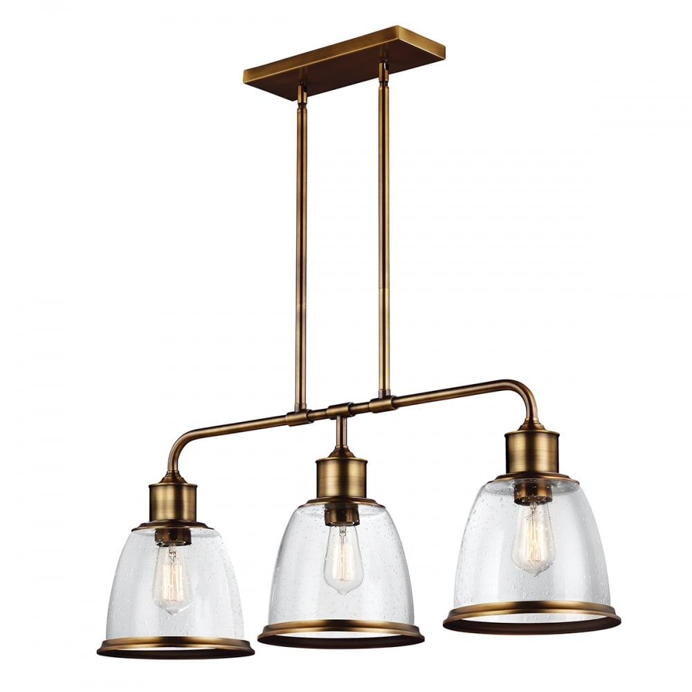 Linear Kitchen Island Pendant in Aged Brass with 3 Hanging