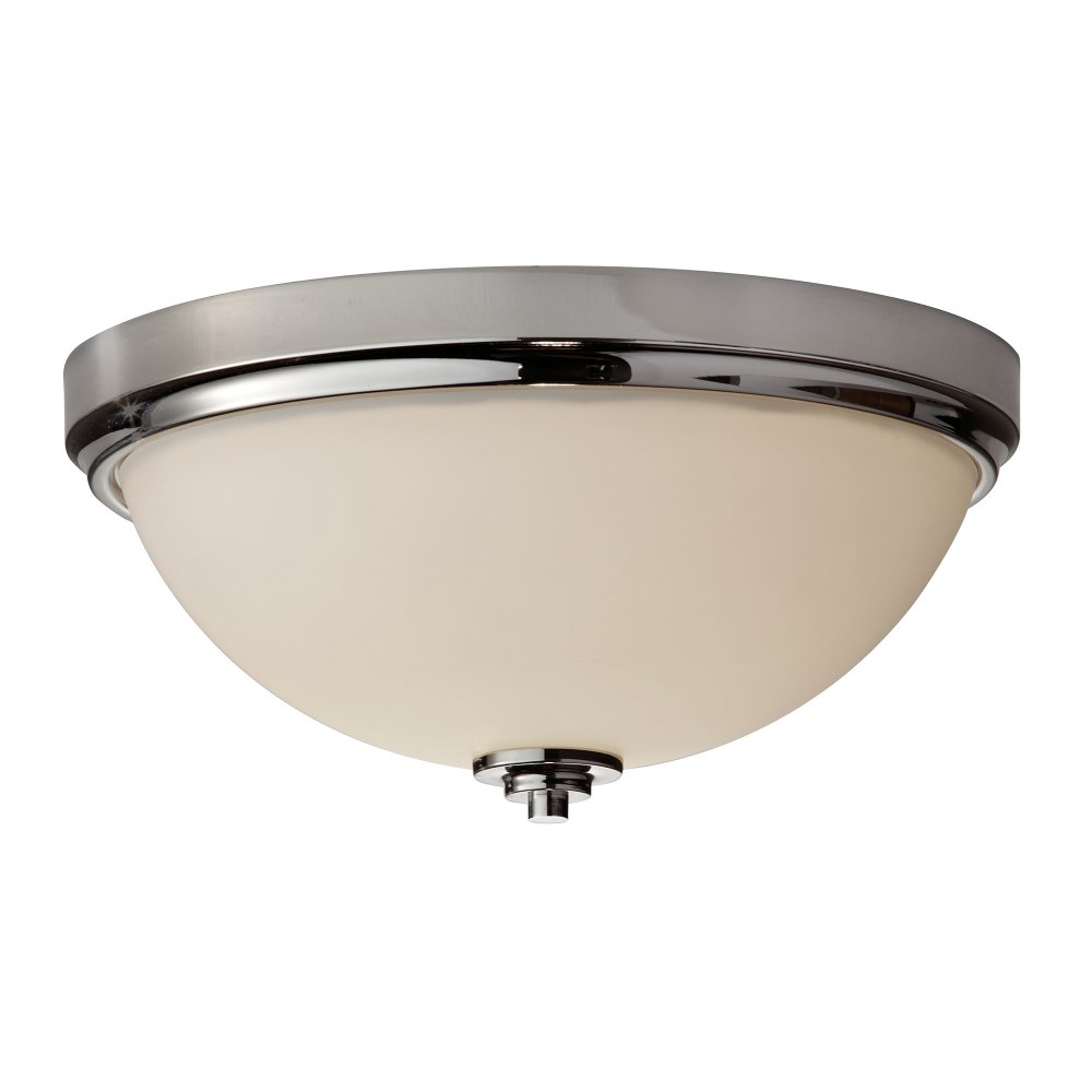 Chrome and Opal Glass Flush Fitting Bathroom Ceiling Light IP44