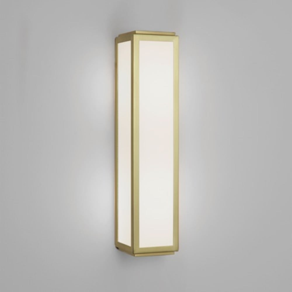 Ip44 Flush Fitting Bathroom Wall Panel Light White Glas With Gold Trims
