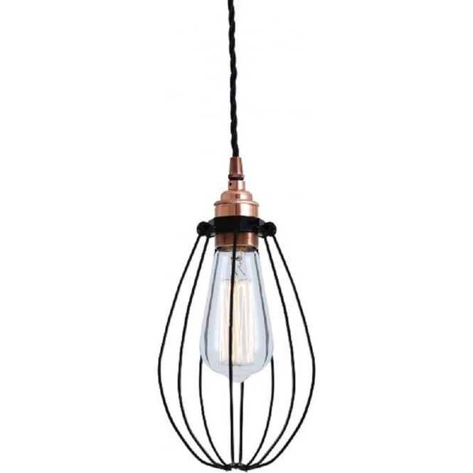 Industrial Ceiling Pendant Light, Black Wire Cage and