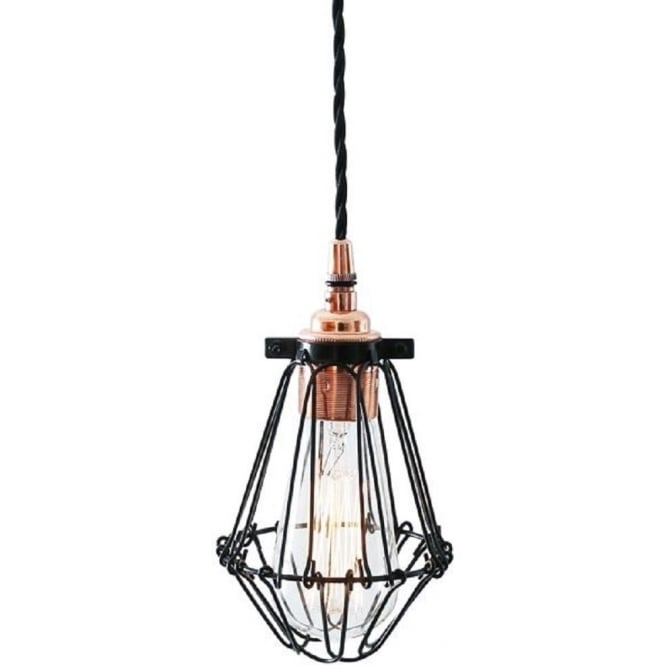 Black Wire Cage Ceiling Light with Copper Fitting on