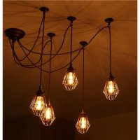 Pendant Cluster Ceiling Light with 5 Industrial Style Cage ...