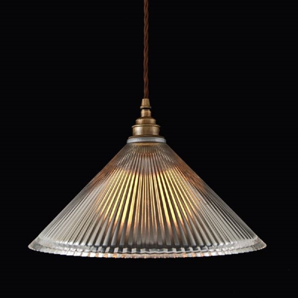 Ribbed Glass Pendant Light Shade on Braided Cord Cable