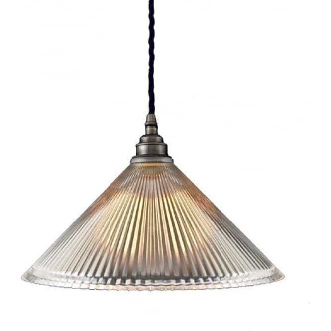Ceiling Pendant Light with Coolie Ribbed Glass Shade on