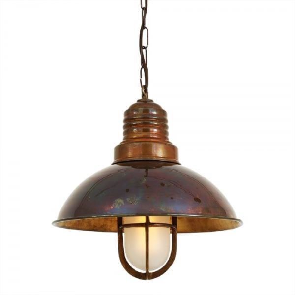Nautical Ship Deck Ceiling Pendant Light in Antique Brass