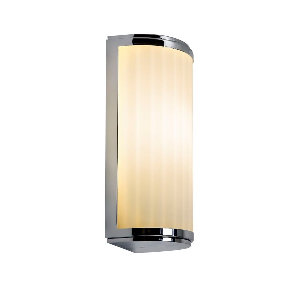 monza art deco style ip44 bathroom wall light small with chrome trim