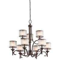 Bronze 9 Light Chandelier Features Opal Drum Shades with ...