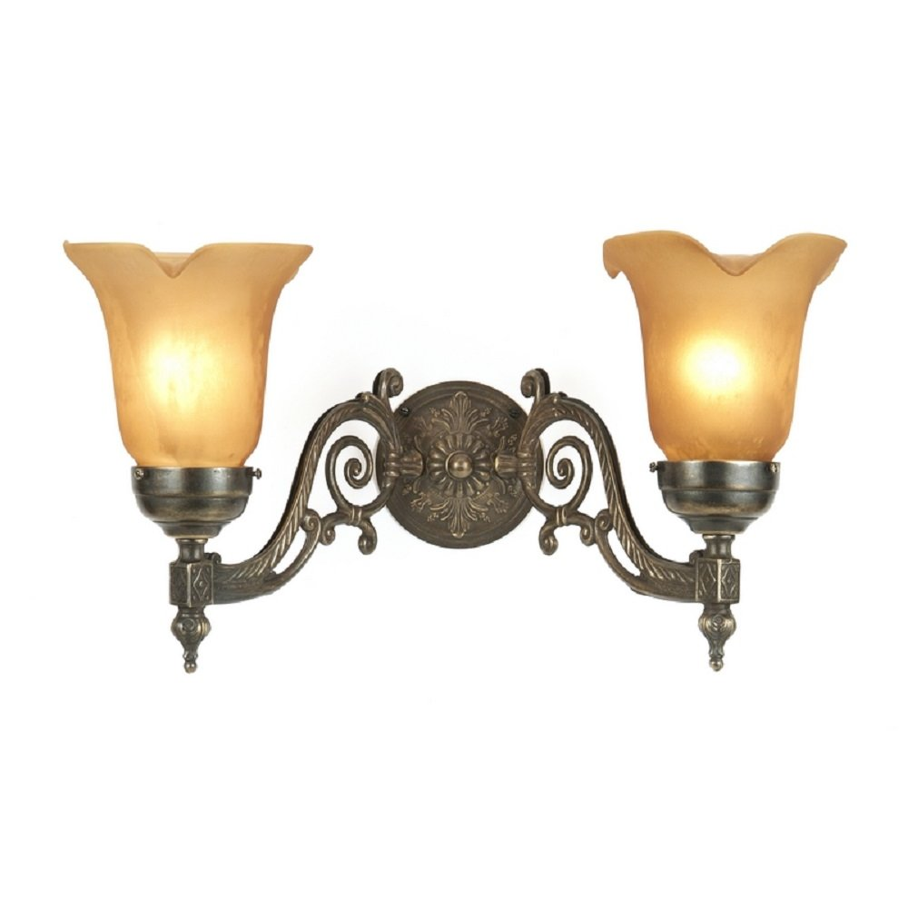 Victorian Style Aged Brass Double Wall Light with Amber