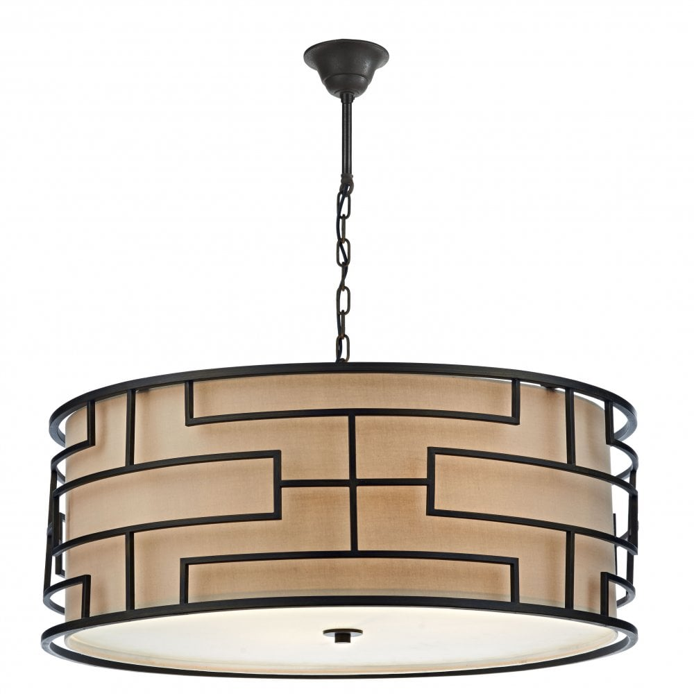 Art Deco Hanging Ceiling Light With Bronze Frame And Taupe Linen Shade