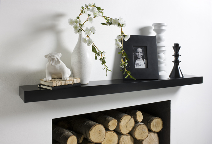 Black Floating Shelves Made To Measure For Alcoves And Walls