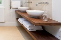 Floating wooden countertop for Bathroom