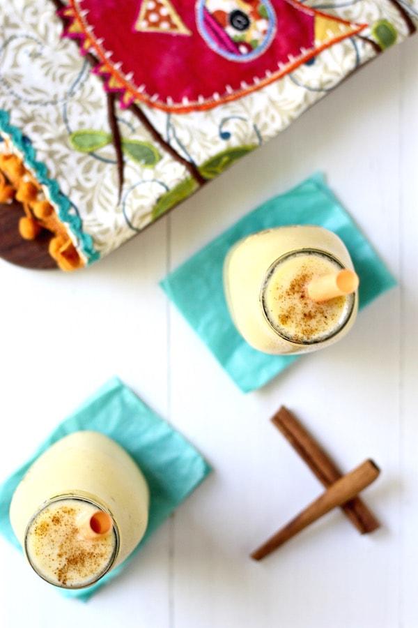 mango lassi smoothie overhead