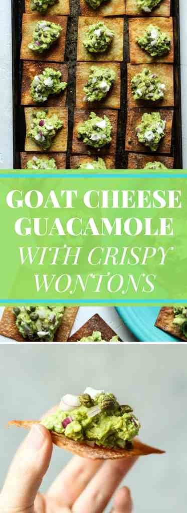Goat Cheese Guacamole appetizer with Crispy baked wonton skins
