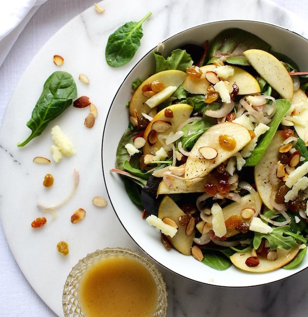 warm apple salad and vinaigrette