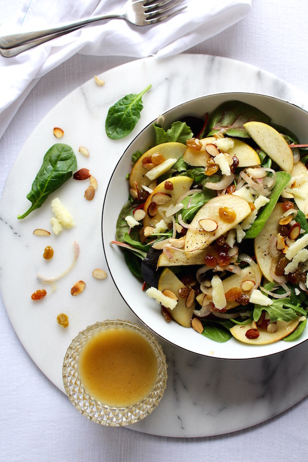 warm apple salad and vinaigrette