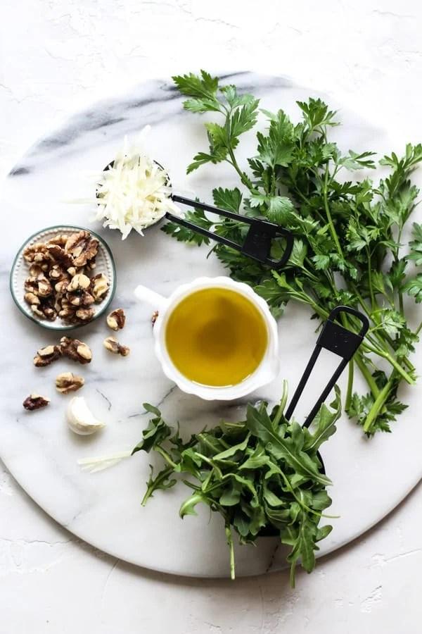 Arugula Parsley Pesto ingredients