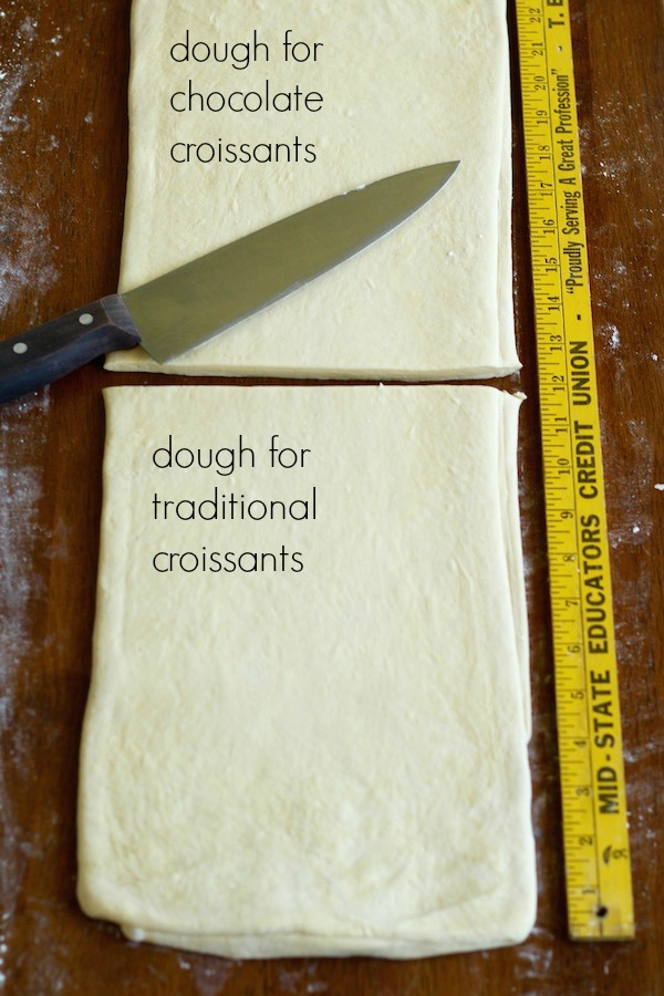 croissant dough third turn cut in half with text