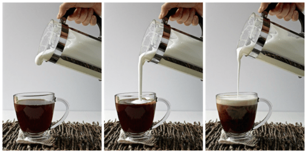 french press milk foam collage