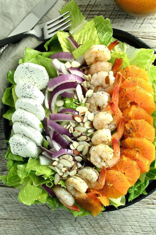 shrimp salad orange poppy seed vinaigrette overhead