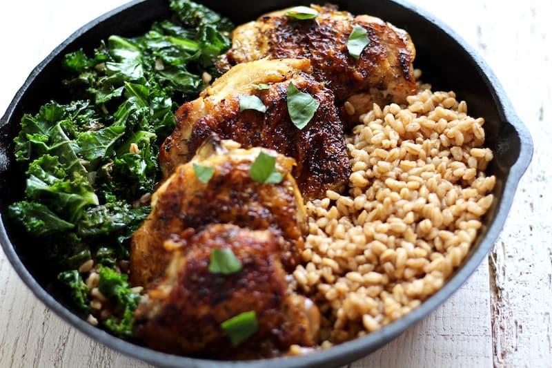Crispy chicken and kale farro salad recipe