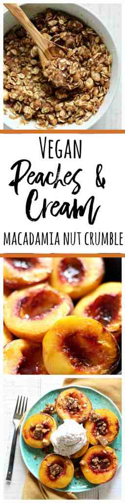 Try this xcrumptious vegan peaches and coconut cream with a macadamia nut crumble! #coconutoil