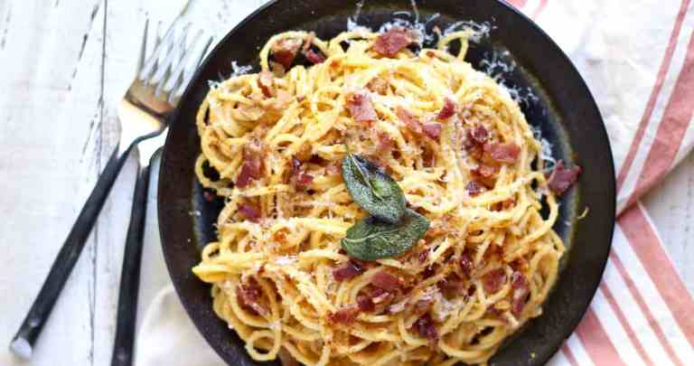 PUMPKIN & RICOTTA PASTA CARBONARA RECIPE