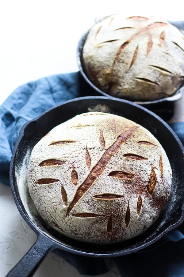 Artisan Bread | Sourdough Honey Spelt Bread baked in cast iron skillets
