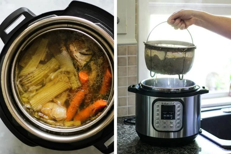 Instant pot bone broth recipe with an instant pot strainer