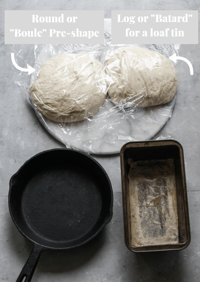 Preshaping bread dough for a round or loaf tin