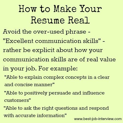 communication skills for cv