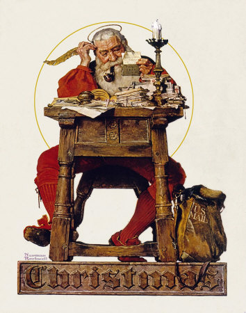 Norman Rockwell Christmas Santa Claus Reading Mail