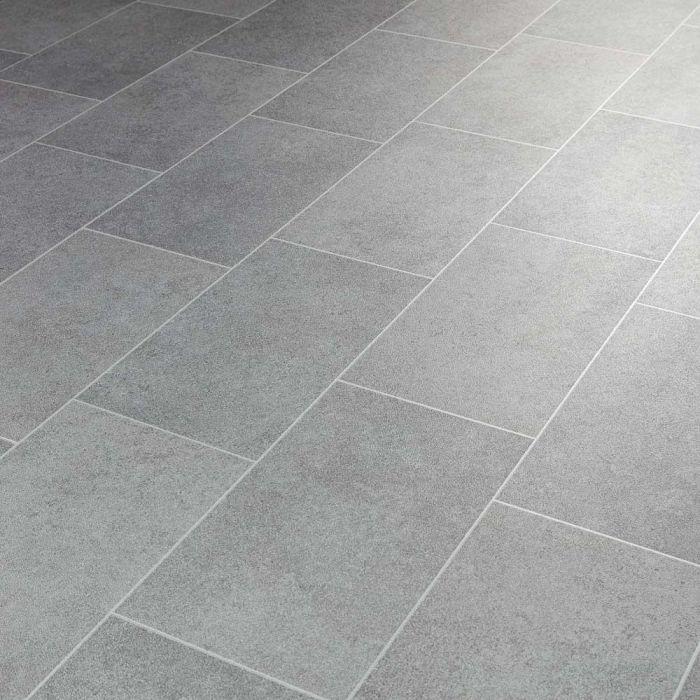 metallic tile effect cushioned vinyl flooring sheet glint silver