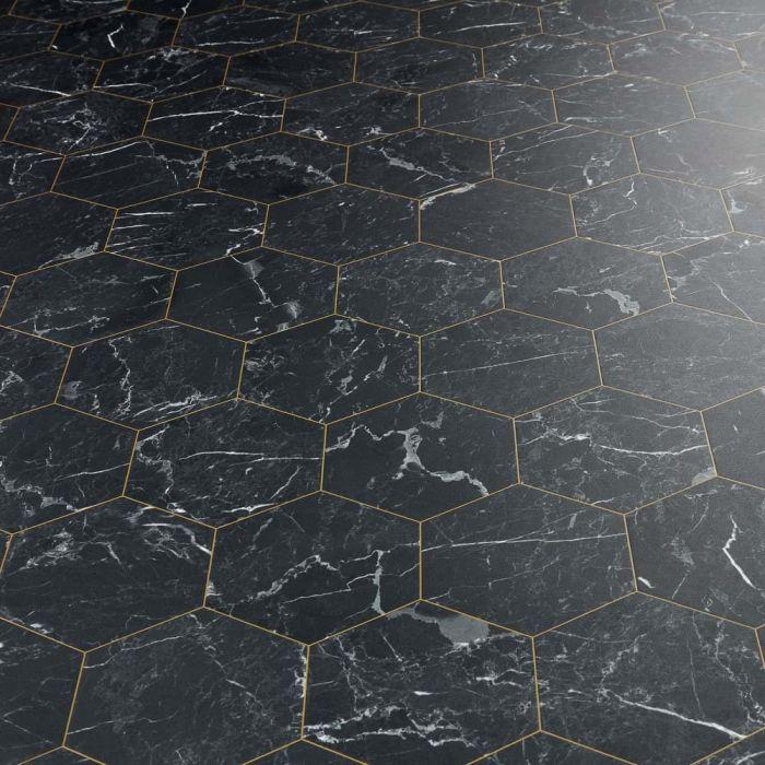 carrara nera esagono sheet vinyl flooring