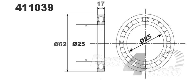 ROULEMENT VILEBREQUIN 25X62X17 PROX